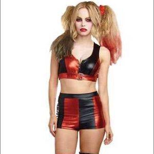 Sexy Harley Quinn Black Red Bikini Costume